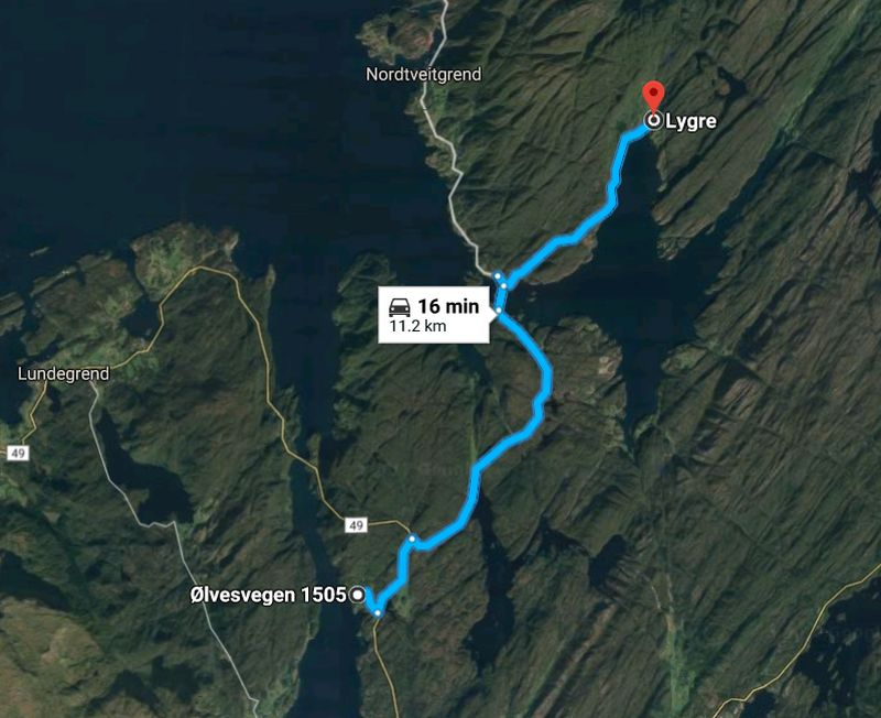 It's about 15-20 minutes to drive from Stussvik to Lygre