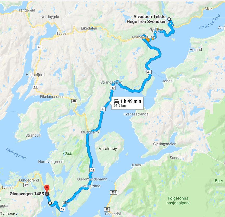 The drive from Perennialen at Alvastien Telste to Stussvik
