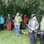 Is started raining as the garden tour started, the participants here sheltering under a birch tree, me doing the introduction in the rain!