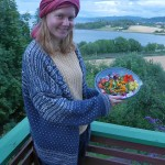Josefine Marie Dichmann shows off the birthday salad with that view (ESM was too shy to be photographed, hair turning green already at 15)