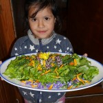 The next generation of edimental salad makers! She decorated it herself!!