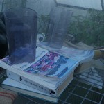 Tone Lise has a good taste in reading material in her greenhouse