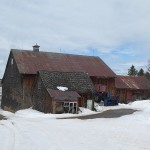 Cedar shingle clad farm building