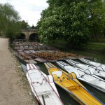 Punts on the River Cherwell next to the garden