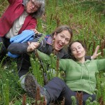 Happy foraging companions at THE ostrich fern patch, a very special place next to the path