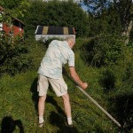 Scything demonstration on the area we were to convert to a new permaveggie garden!