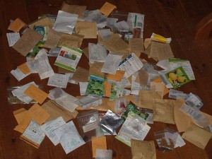 Time to sort all the home saved seed packets alphabetically....most packets are recycled..... :)