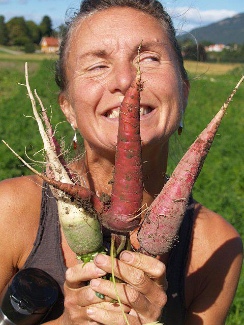 Veronica Samycia​ shows off the diversity of carrots including Dragon ('s tooth) from Seeds of Change