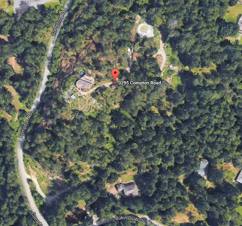 Zoom in to the plot, the gardens and house surrounded by forest. The nursery is around the pond seen at the top.