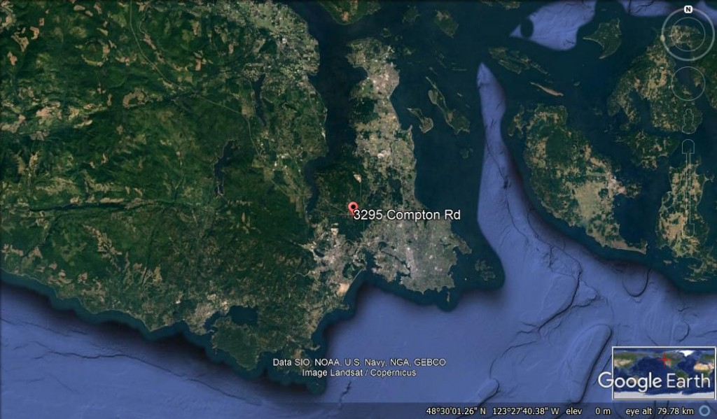 The location of Ecosense north west of Victoria on southernmost Vancouver Island!