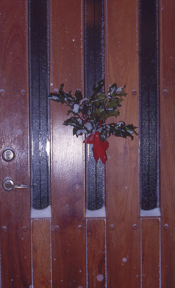 Holly on the old front door early 2000s