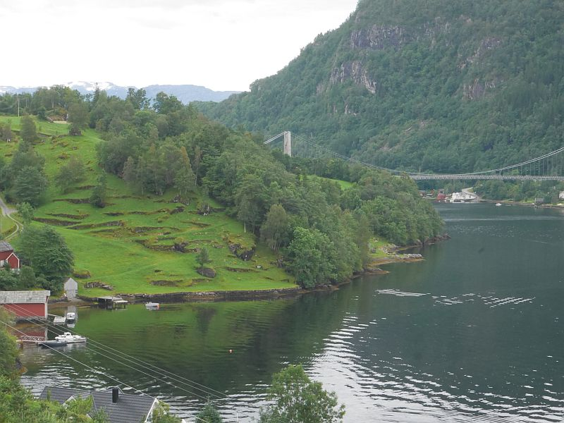 Fyksesund bridge and old Hardanger terraces