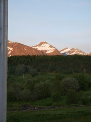 P1420201 -- Midnight sun on the mountains at bed time!