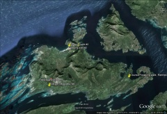 Engeløya places -- Map showing the course venue, first foraging trip, the Engeløya Bygdetun and the second foraging trip on the north side of the island!