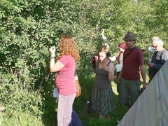 Sampling the saskatoons -- Forest garden tour: sampling the saskatoons