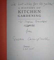 "A History of Kitchen Gardening -- ...and thank you very much to chairwoman of the forum, Susan Campbell for the gift of her own book! Susan invited me and was selling her book alongside mine! It's a reissue of her book first published in 1996, originally called Charleston Kedding. I wonder where that is I thought, but reading on I read ""The name was merely an anagram of Old Kitchen Gardens! Love it!!"