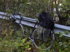 Bike fully laden! -- Bike fully laden for the mostly steep downhill return journey!