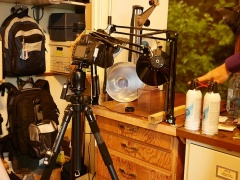 Photographic equipment and backpacks  -- Photographic equipment and backpacks ready for the next foraging tour