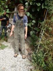 Fuzzy kiwis,  juniper and Sedum at Matt's feet -- Fuzzy kiwis,  juniper and Sedum at Matt's feet