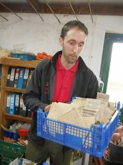 Sam Brown in the seed store -- I met Sam Brown at the Croome Walled Garden network meeting last autumn. He showed me behind the scenes including the seed store...I came away with a few new peas in return for the perennial veggies I'd brought with me!